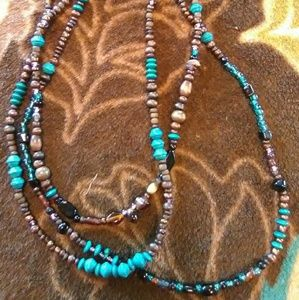 Jewelry - Wooden Bead & Glass Stoned Necklace